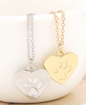 Dog Paw Print Charms Necklace
